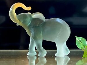 Daum-Large-Amber-Crystal-Pate-de-Verre-Elephant-9-5-034-Wide-8-034-Tall-Mint-Signed
