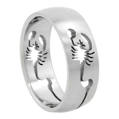 Men Fashion 8MM Stainless Steel Cut-Out Scorpion Domed Wedding Band Ring