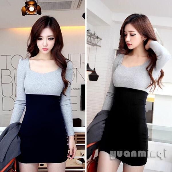 Autumn Winter Women Long Sleeve Knit Cocktail Party Bodycon Casual Mini Dress