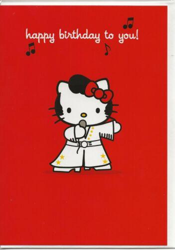 carte anniversaire HELLO KITTY  hype card rouge happy birthday avec enveloppe