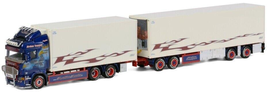 WSI01-1094 - Camion 6x2 porteur réfrigérant SCANIA R Highline avec remorque réfr