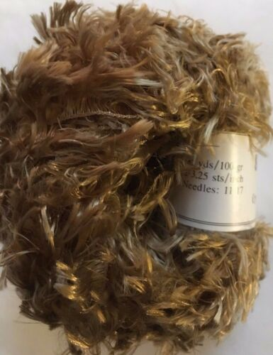 Crystal Palace Splash #205 Brass Feather Boa Short Eyelash Yarn 100 Gram 85 Yds