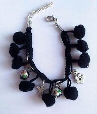 Handmade Funky Black Pom Pom + Angel & Flower Charms + Cloisonne Beads Bracelet