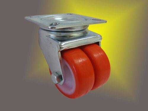 Schwerlast PU Rolle ø50mm mit niedriger Bauhöhe und Tragkraft von />/>140Kg /</<