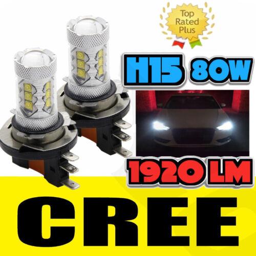 2x H15 Bulb Error free 80W White LED Daytime Running Light DRL For Audi VW Ford