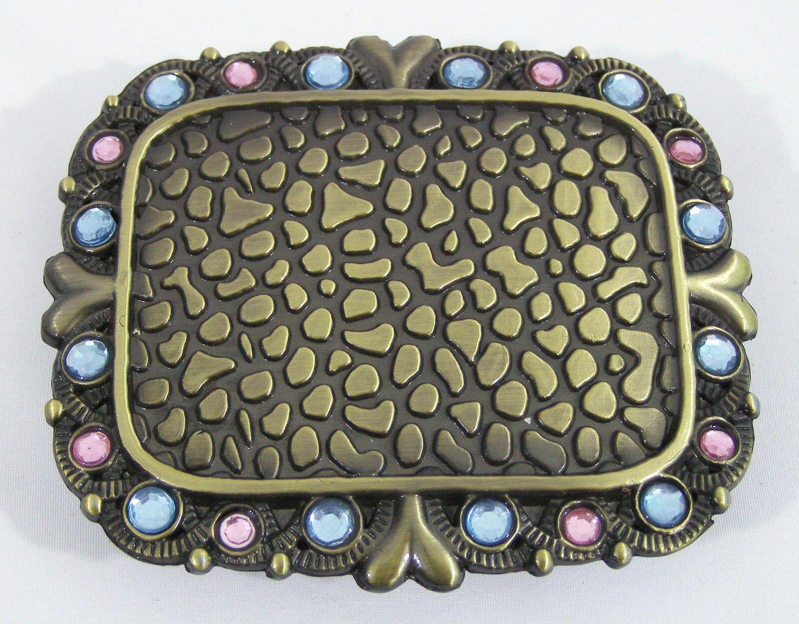 BELT BUCKLES Pebbled Blue Pink Rhinestones Antiqued Gold Rectangle Western NWOT!