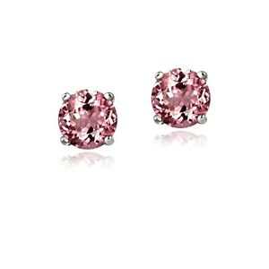 .925 Sterling Silver .5ct Pink Tourmaline Round 4mm Stud Earrings