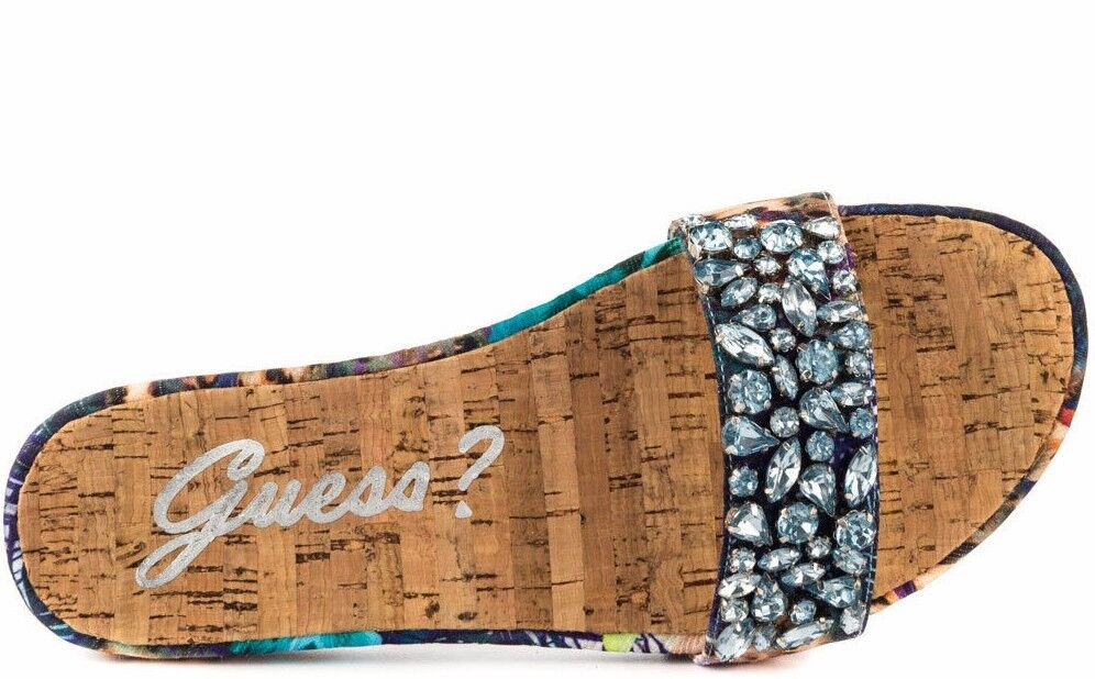 Guess Padalis Rhinestone Embellish San Blue-Multi Floral Slide Sandal Shoes  $79