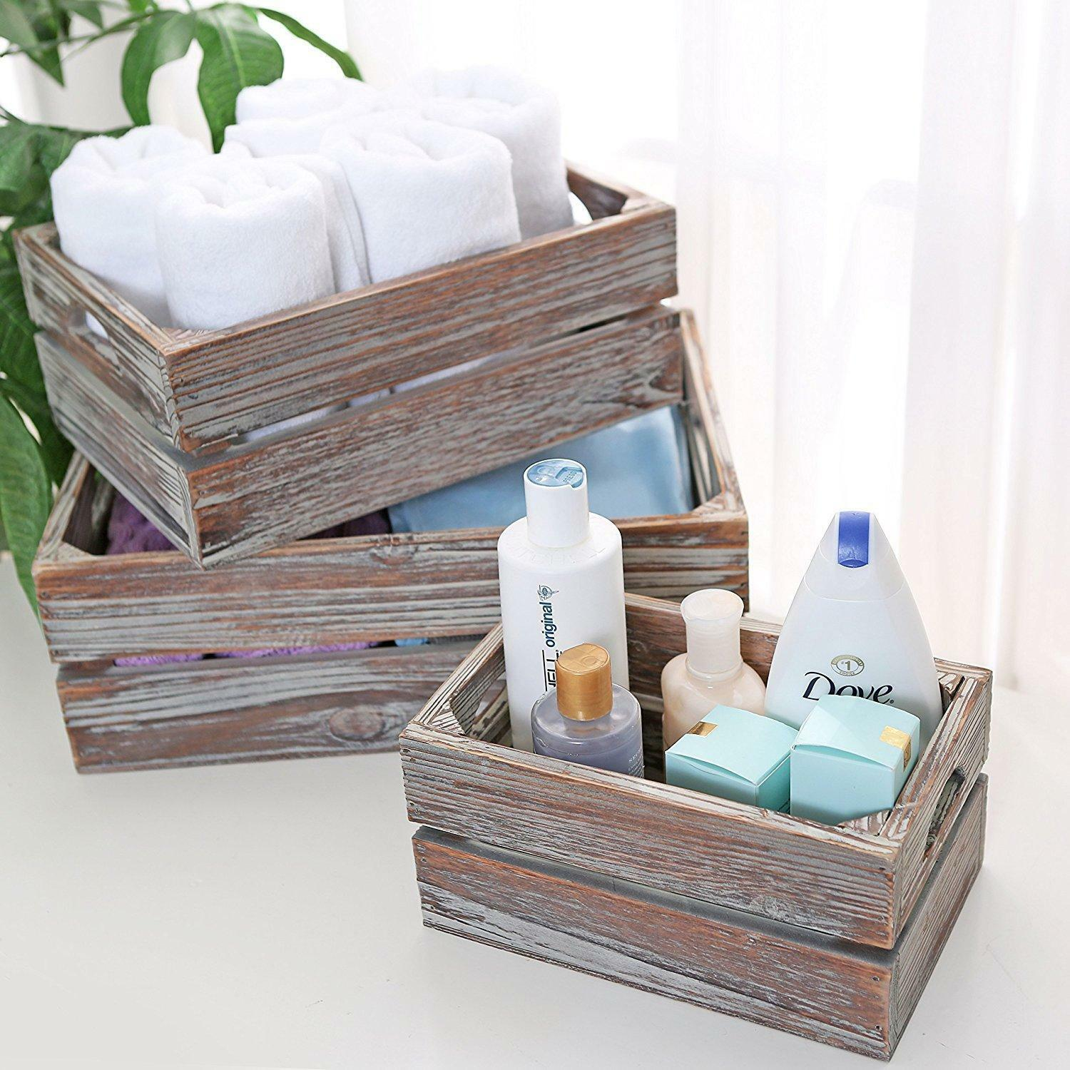 Nesting Boxes Wood Rustic Storage Organizer Set 3 Desk Counter Bathroom Gift NEW