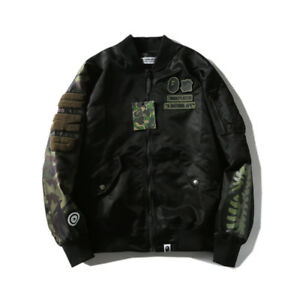 0f5930b293b6 Japanese Men BAPE A Bathing Ape Shark Head MA1 Flight Bomber Jacket ...