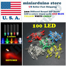 100pcs 3mm Diffused Led Light White Yellow Red Blue Assorted Assortment Diy Set