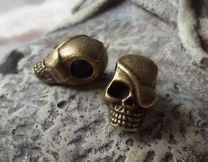 2 Skull Beads Großloch Perlen Paracord Lanyard Armband Totenkopf S05