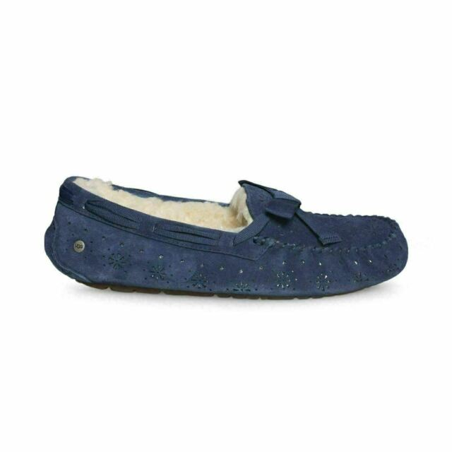 0fb56a5cef2 UGG Dakota Sunshine Perf Suede/ Sheepskin Moccasin Slippers Sz 11 Navy  1019199