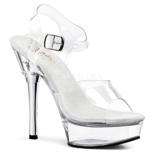 Pleaser Allure-608 Shoes Platform Sandals Ankle Strap High Heels Pole Dancing