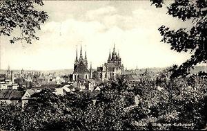 Erfurt-Thueringen-DDR-s-w-AK-1960-Teilansicht-Blick-vom-Kulturpark-ueber-die-Stadt