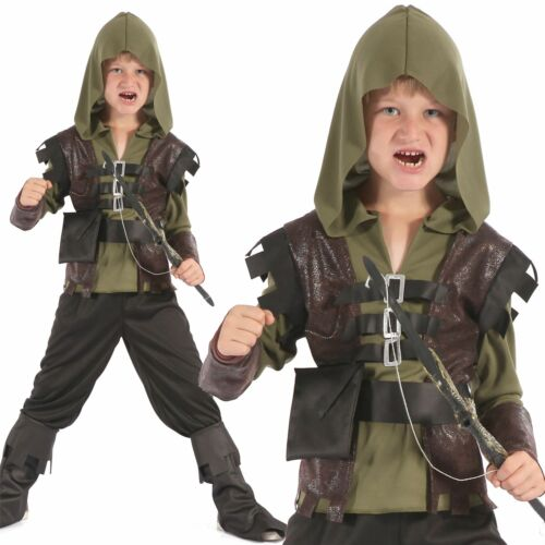 Boys Hunter Costume Childs Medieval Robin Hood Book Week Fancy Dress Outfit Kids