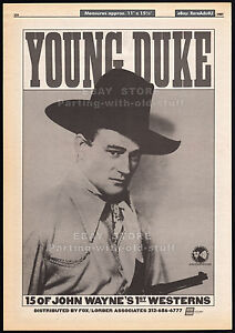 YOUNG-DUKE-Orig-1985-Trade-print-AD-JOHN-WAYNE-1st-Westerns-TV-program-package