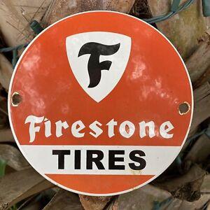 VINTAGE-FIRESTONE-TIRES-PORCELAIN-METAL-SIGN-OIL-GAS-STATION-CAR-SERVICE-Lube