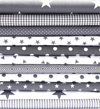 11 X FAT QUARTER BUNDLE STARS CLASSICS - GREY - 100% COTTON FABRIC dots stripe