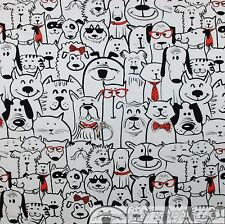 BonEful FABRIC FQ Cotton Jersey KNIT White Black Red Dog Cat Cartoon Baby Dot US