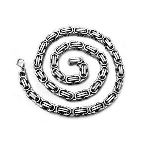 Halskette-Herren-Edelstahlkette-Panzerkette-Koenigskette-Silbern-Herrenschmuck