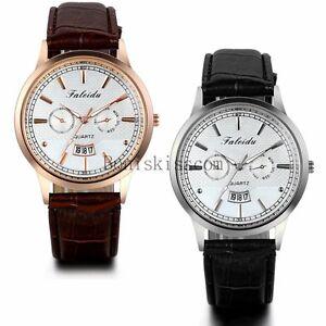 Fashion-Casual-Men-039-s-Date-Calendar-Leather-Strap-Band-Quartz-Analog-Wrist-Watch