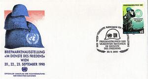 Nazioni UNITE 1990 Premio Nobel per la Pace Primo giorno di copertura Vienna SHS