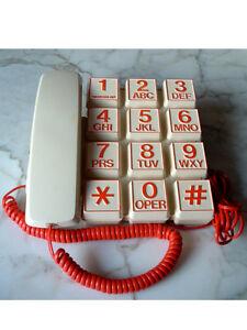 TELEFONO-WEBCOR-ZIP-VINTAGE-ORIGINALE-ANNI-80-TASTI-ROSSI-RARO-MODERNARIATO