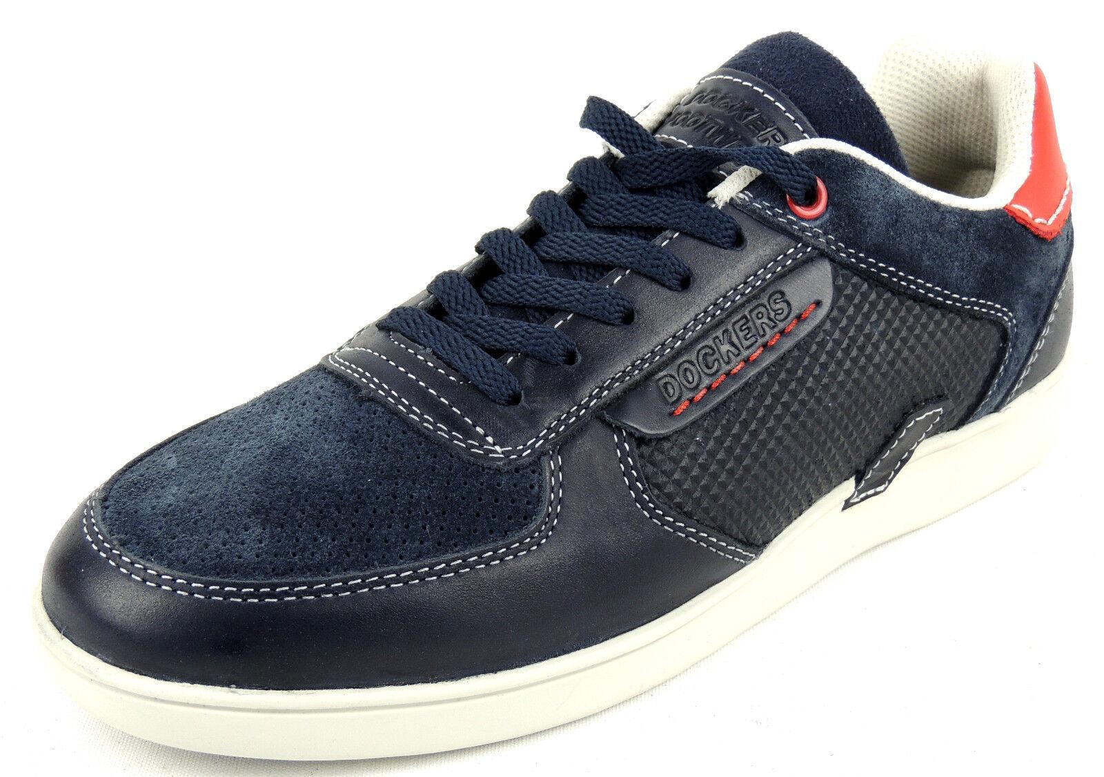 Los últimos zapatos de descuento para hombres y mujeres Dockers señores con cordones zapatillas de cuero depósitos apto Navy/rojo