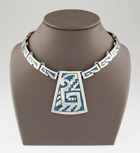 Sterling Silver Mexico Turquoise Chip Inlay Chain Necklace Gorgeous