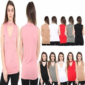 New Ladies Womens V Neck Choker CUT Sleeveless Party Plain Blouse Vest TOP 8-22
