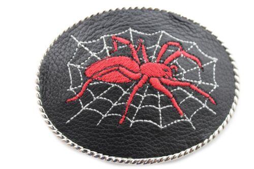 New Men Women Silver Metal Belt Buckle Biker Black Leather Red Spider Web Rider