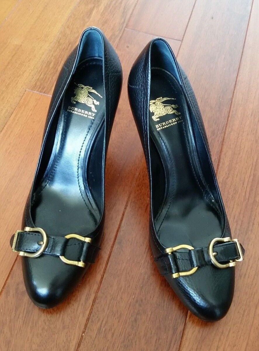 NEW Authentic Burberry Women Black Heels shoes Pumps 37 Made in