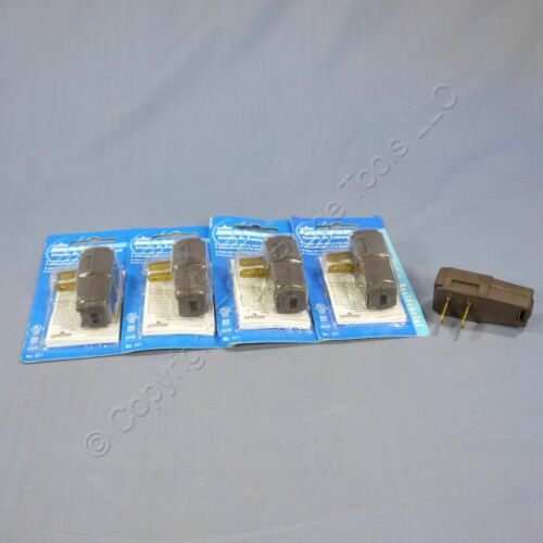 5 New Leviton Brown Side Mount Easy-Wire Angle Plugs 15A 1-15P Non-Polarized 321