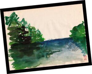 Quiet-Shore-Australia-1999-Impressionist-Art-PAINTING-SIGNED-seascape-watercolor