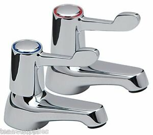 Lever Basin Sink Pillar Taps Easy Use 1 4 Turn Chrome Pair