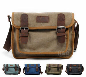 Image is loading Men-039-s-Military-Canvas-Cross-Body-Schoolbag- 99d1d5f5e4f7d