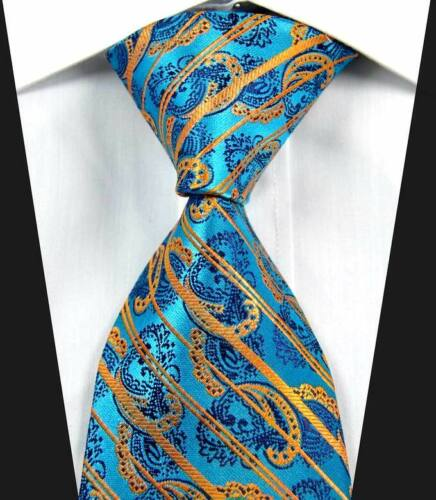 Hot Classic Pattern Stripe Blue Gold JACQUARD WOVEN 100/% Silk Men/'s Tie Necktie