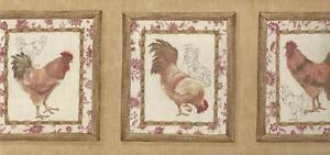 Wallpaper-Border-Waverly-French-Country-Roosters-Red-Yellow-Brown-Beige