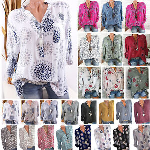 Womens-Long-Sleeve-Casual-V-Neck-Tops-Loose-Floral-Spotted-Blouse-Tee-T-Shirt-US