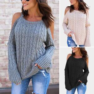 d916ea122d323d Womens Cold Shoulder Knitted Sweater Long Sleeve Tops Crochet Jumper ...
