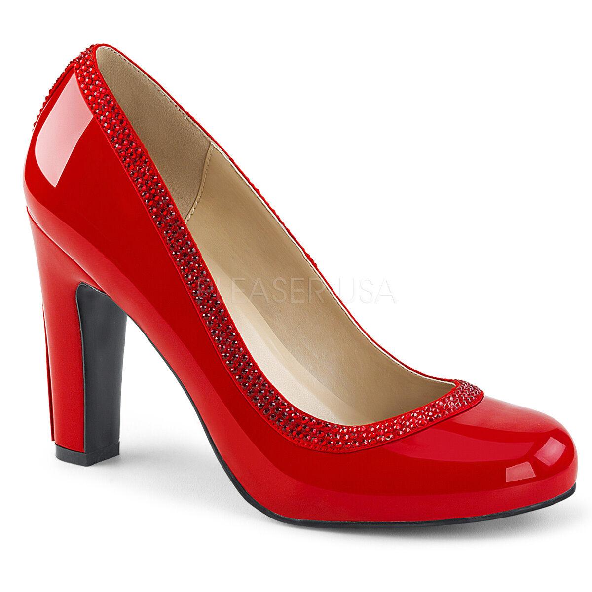 ROT Round Toe 60s Mod GoGo Dancer Schuhes Large Größe Womans Heels 9 10 11 12 13 14