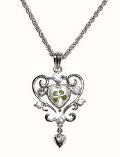 Gran corazón Cristal Real Trébol De Cuatro Hojas Colgante Con Caja De Regalo Y Certificado