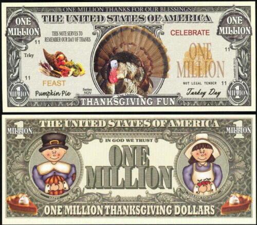 TURKEY MILLION DOLLAR NOVELTY BILL for THANKSGIVING FUN Lot of 10 BILLS