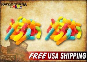 2-GUMMI-WORMS-5-034-Vinyl-Decals-Gummie-Gummy-Bears-Candy-Store-Menu-Sign-Stickers