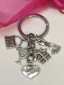 Happy-Birthday-COCKTAIL-Keyring-Gift-Keepsake-With-Organza-Gift-Bag-Freepost