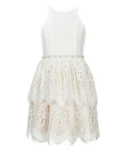 bfabd103d RARE EDITIONS Girls 14 Ivory Halter Neck Beaded Tiered Lace Dress ...