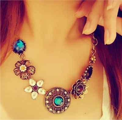 Vintage Bronze Noble Hollow Crystal Flower Bib Statement Celebrity Necklaces