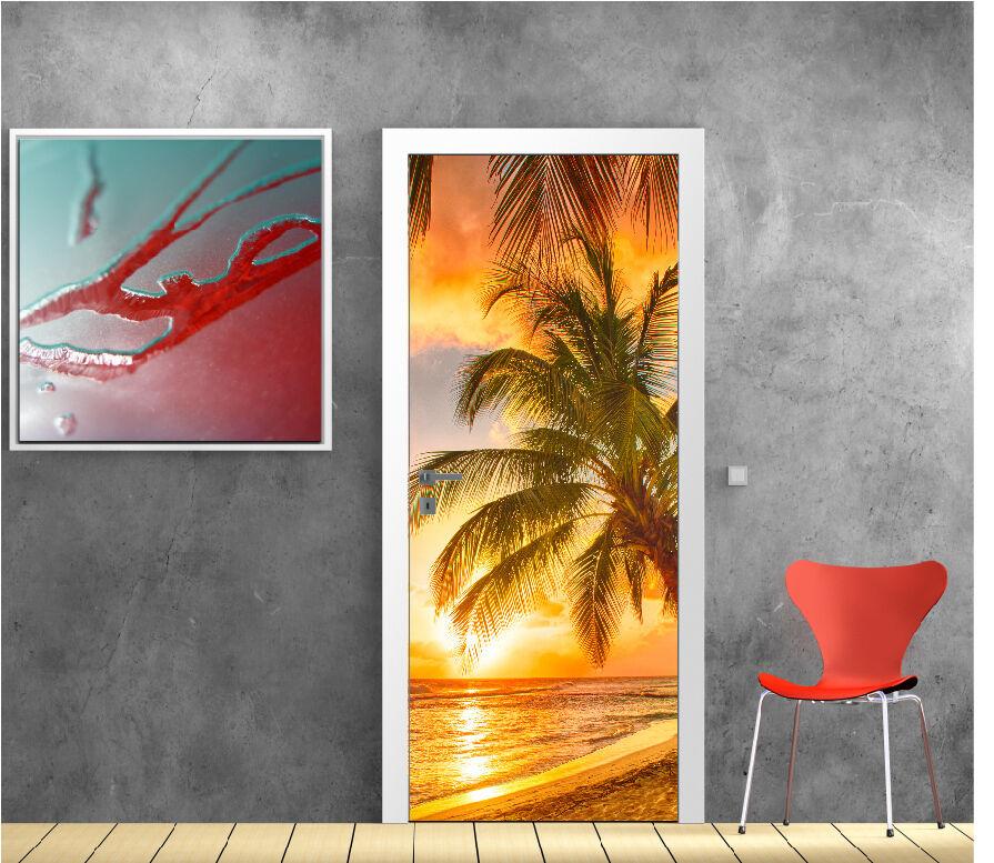 Aufkleber Tür Deko Palmen Liegend Sonnen- Ref 9502