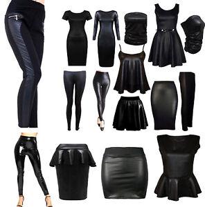 LADIES-WET-LOOK-LONG-SLEEVE-PVC-LEATHER-DRESS-WOMEN-BODYCON-TUNIC-TOPS